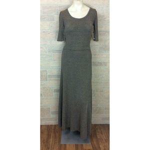 LuLaRoe Ana Elegant Black Gold Striped Dress XS